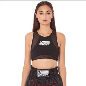 LF Sleeveless Crop Top with mesh Contrast